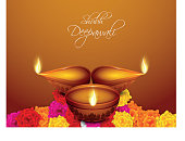 Beautiful greeting card for Diwali celebration in India.