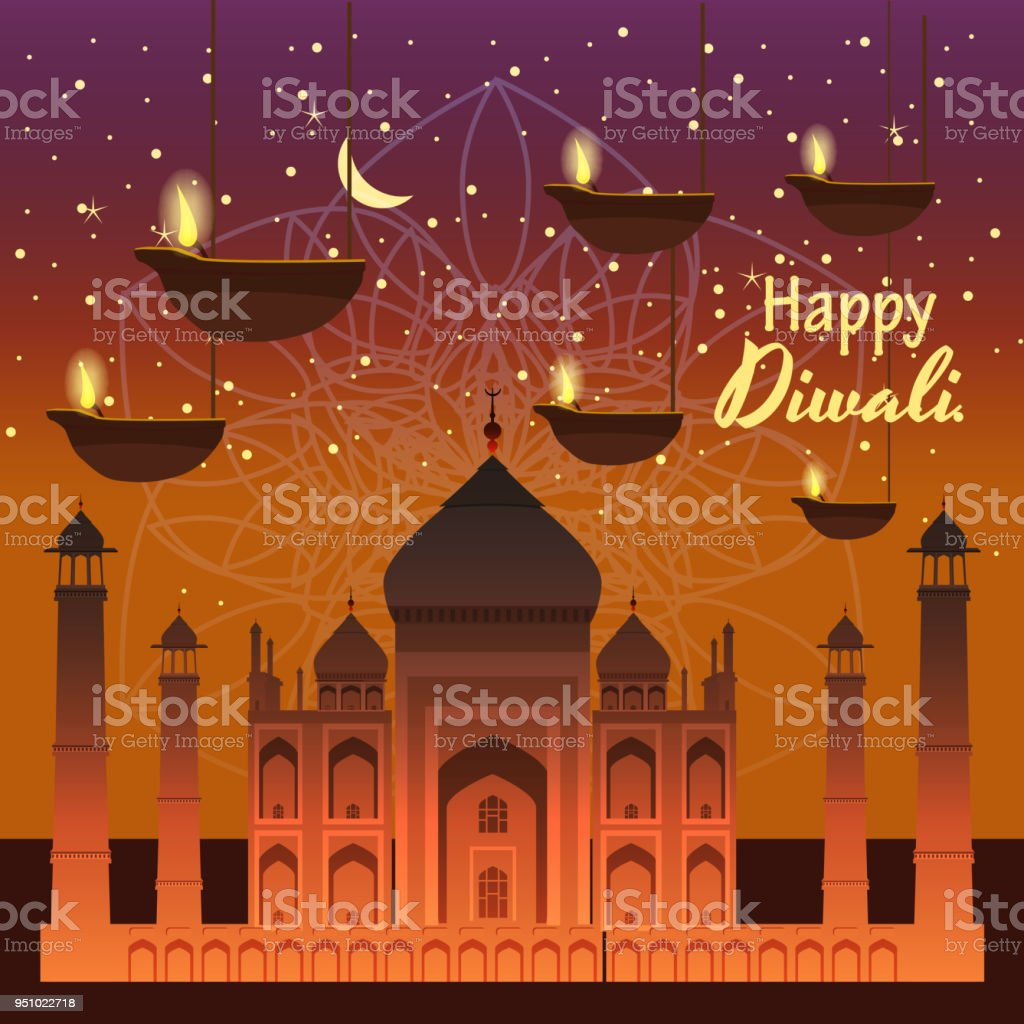 Beautiful Greeting Card For Holiday Diwali With Burning Hanging Diy