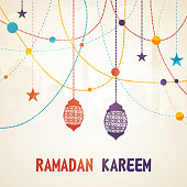 Colorful arabic lamps or stars decorated greeting card design for holy month of muslim community, Ramadan Kareem celebration.