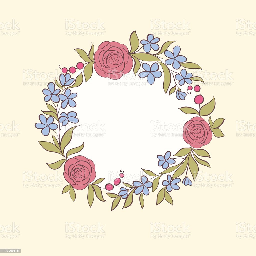 Beautiful greeting card of floral wreath handdrawn background stock beautiful greeting card of floral wreath hand drawn background royalty free beautiful greeting m4hsunfo