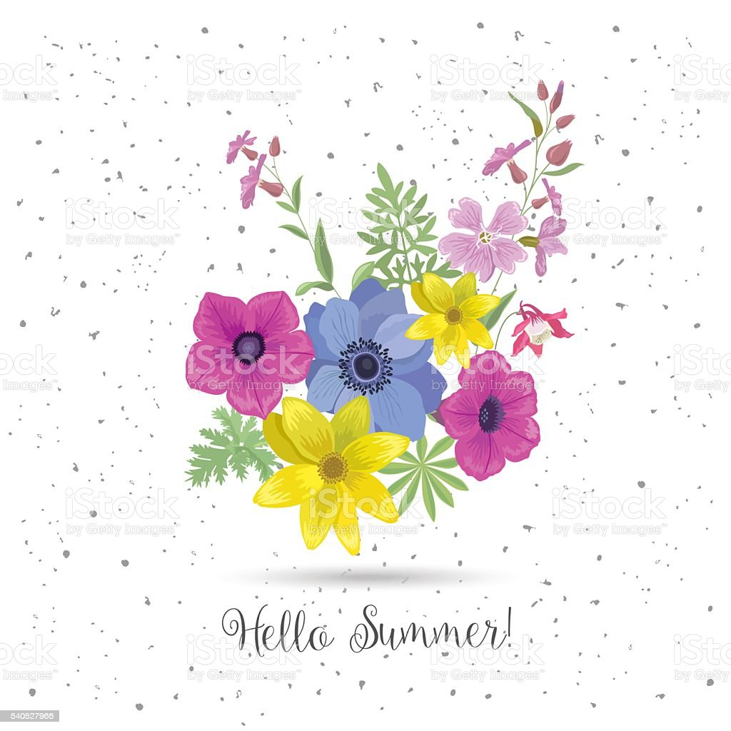 Beautiful Greeting Card With Flowers Summer Floral Bouquet And