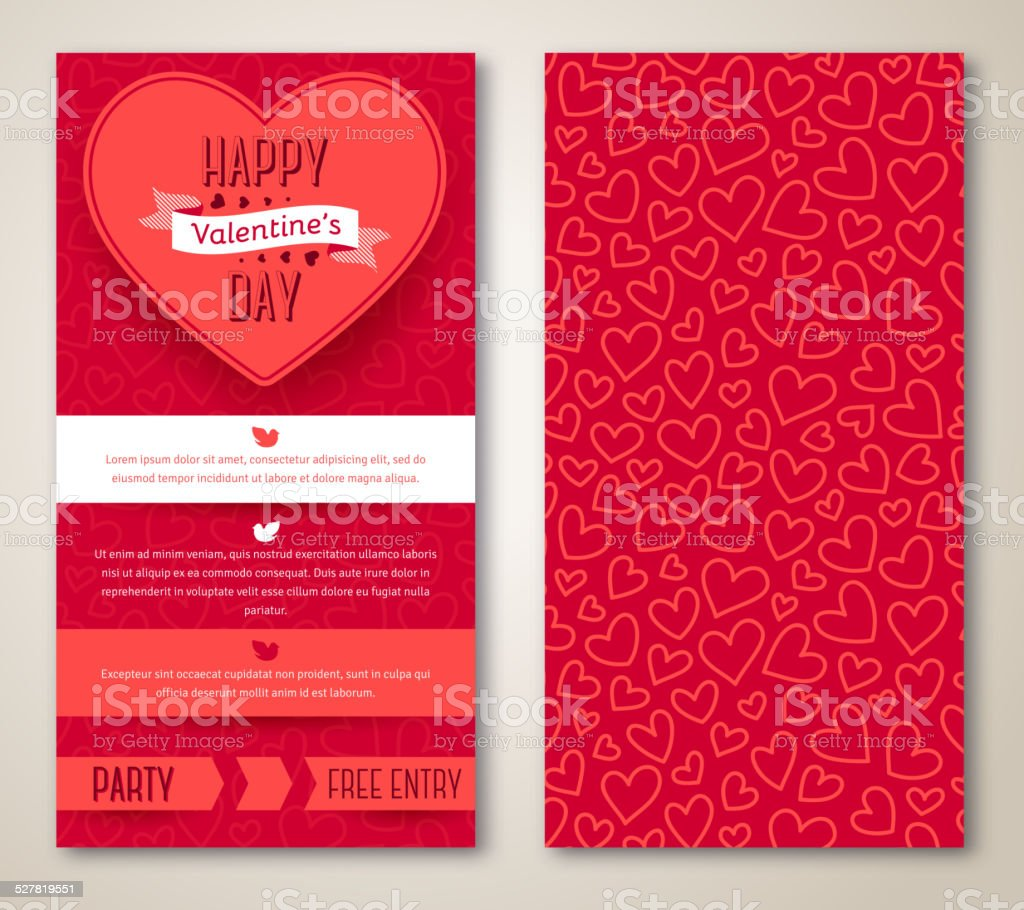 Beautiful greeting cards with heart pattern vector art illustration