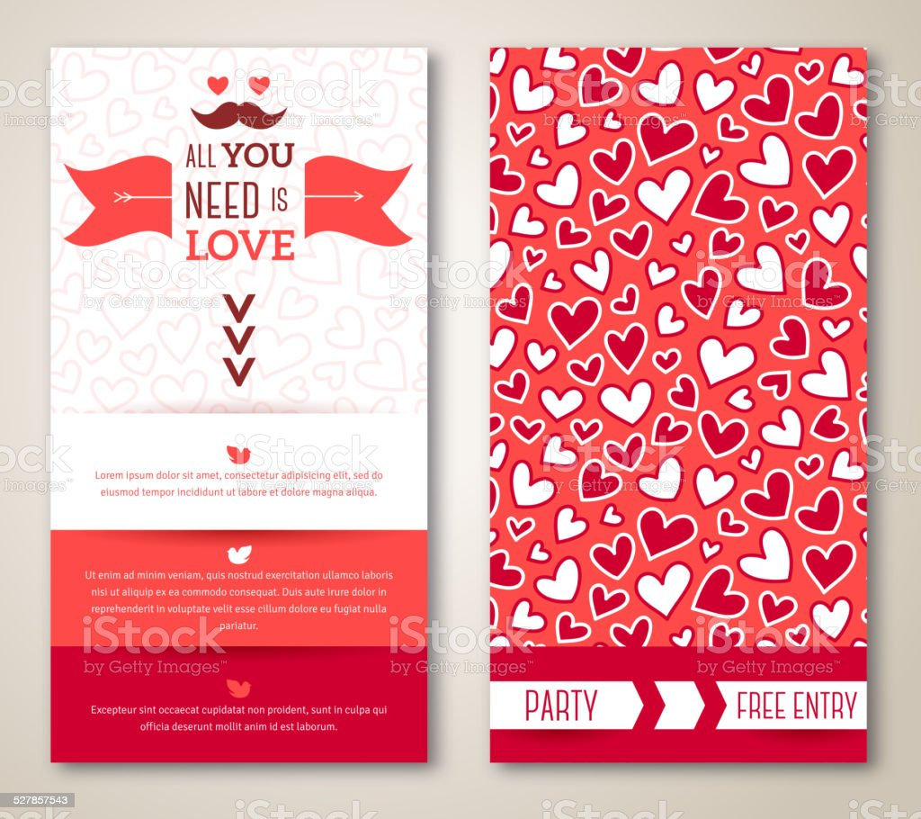 Beautiful greeting or invitation cards with heart pattern. vector art illustration