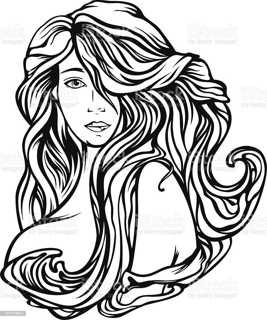 Beautiful Hair vector art illustration