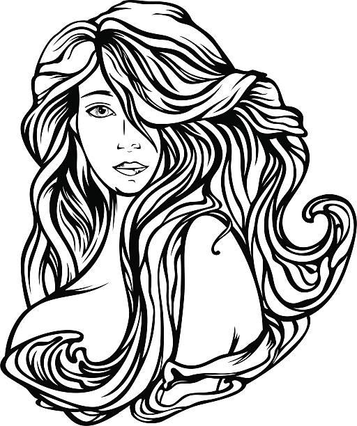 Beautiful Hair vector art illustration