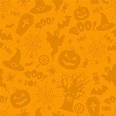 Beautiful orange Halloween seamless pattern VECTOR