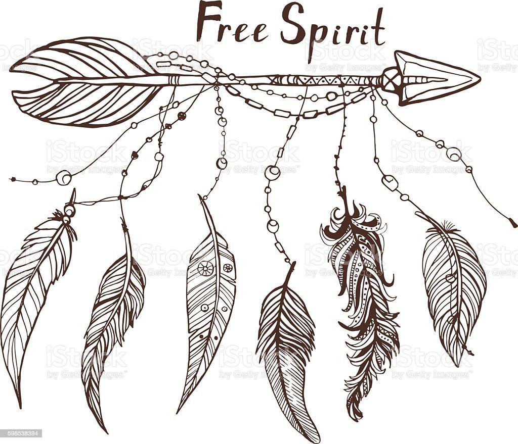 Beautiful hand drawn doodle illustration with tribal arrows and feathers beautiful hand drawn doodle illustration with tribal arrows and feathers – cliparts vectoriels et plus d'images de badge libre de droits