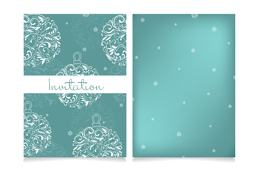Beautiful hand drawn invitation card set with copy space for your text. Decorative openwork vector christmas toys for design on a Tiffany blue background.