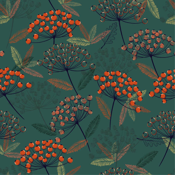 Beautiful Hand drawn seamless vector pattern. Fall/winter line flowers and orange berries design for fashion,fabric.wallpaper and all prints vector art illustration