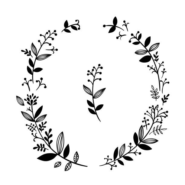 schöne handgezeichnete grafik illustration kranz auf weißem hintergrund. botanische begriff vektor-design-elemente für hochzeitsdekoration karten - monogrammarten stock-grafiken, -clipart, -cartoons und -symbole