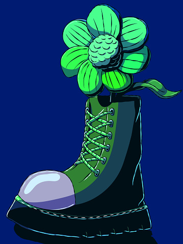 Beautiful hand-drawn vector illustration - Flower in a boot.