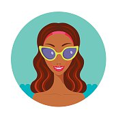 Beautiful African American woman smile and Looks happy in stylish sunglasses Summer fashion concept