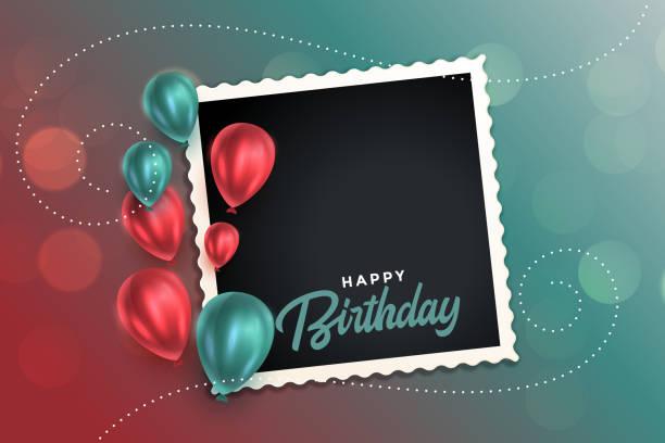 ilustraciones, imágenes clip art, dibujos animados e iconos de stock de hermosa tarjeta de cumpleaños feliz con globos y marco de fotos - cumpleaños