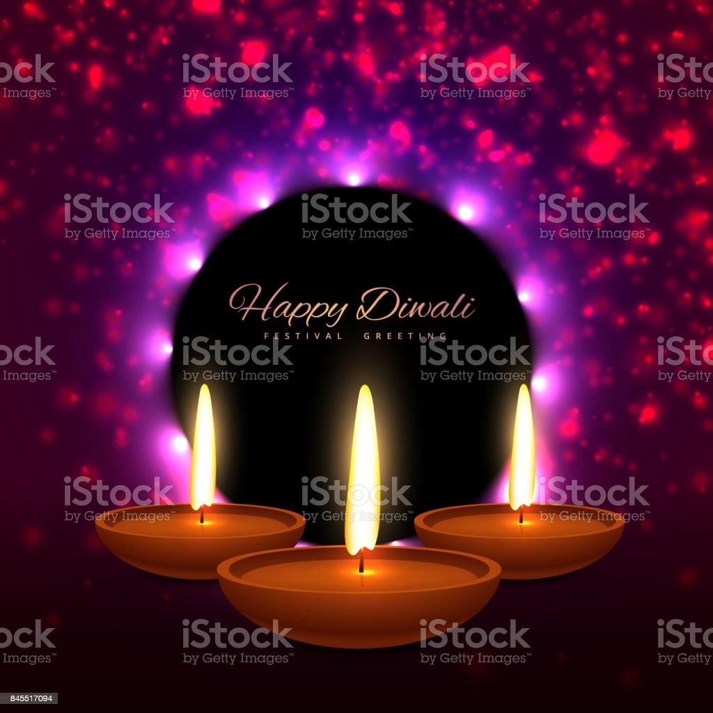 Beautiful Happy Diwali Indian Festival Greeting Card Design Vector