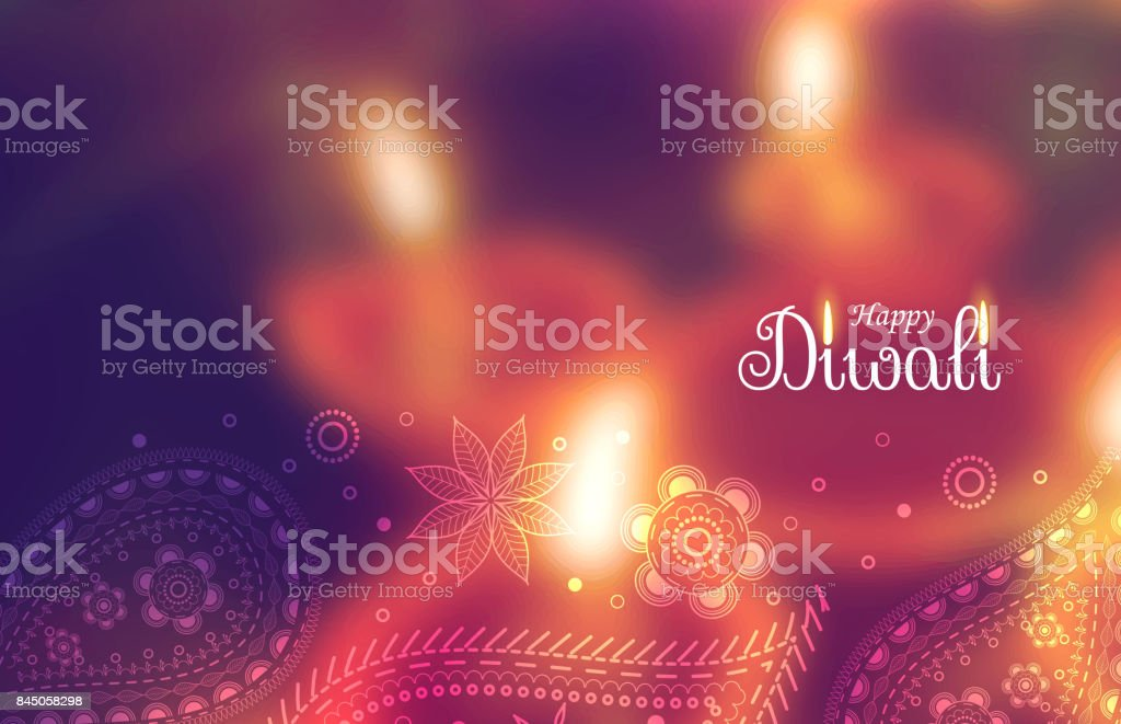 beautiful happy diwali wallpaper with blurred background and paisely decoration vector art illustration