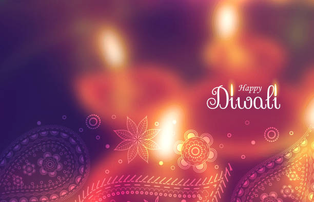 beautiful happy diwali wallpaper with blurred background and paisely decoration - diwali stock illustrations, clip art, cartoons, & icons