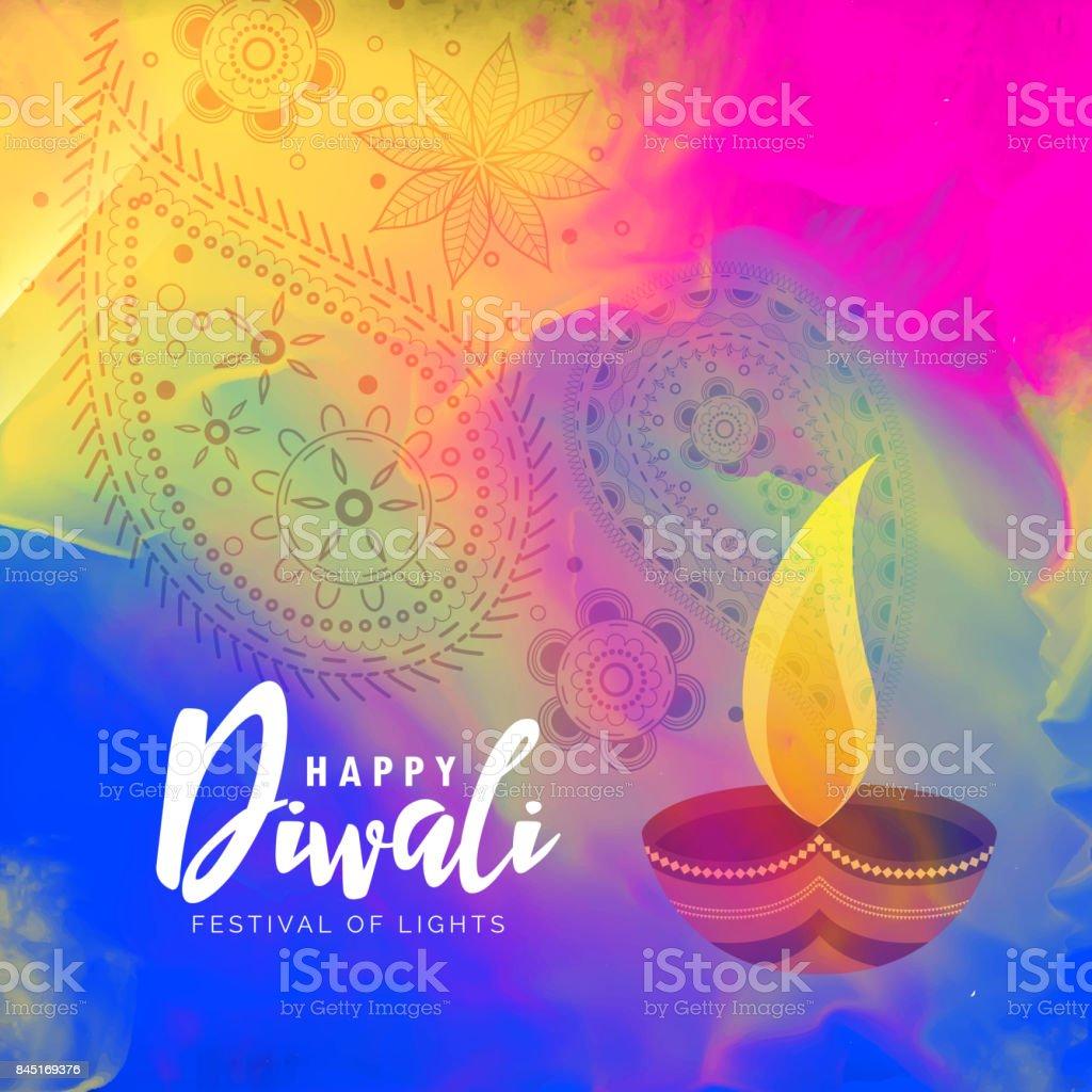 beautiful happy diwali watercolor background design vector art illustration