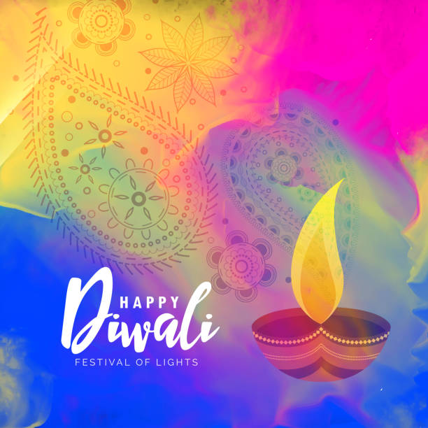 beautiful happy diwali watercolor background design - diwali stock illustrations, clip art, cartoons, & icons