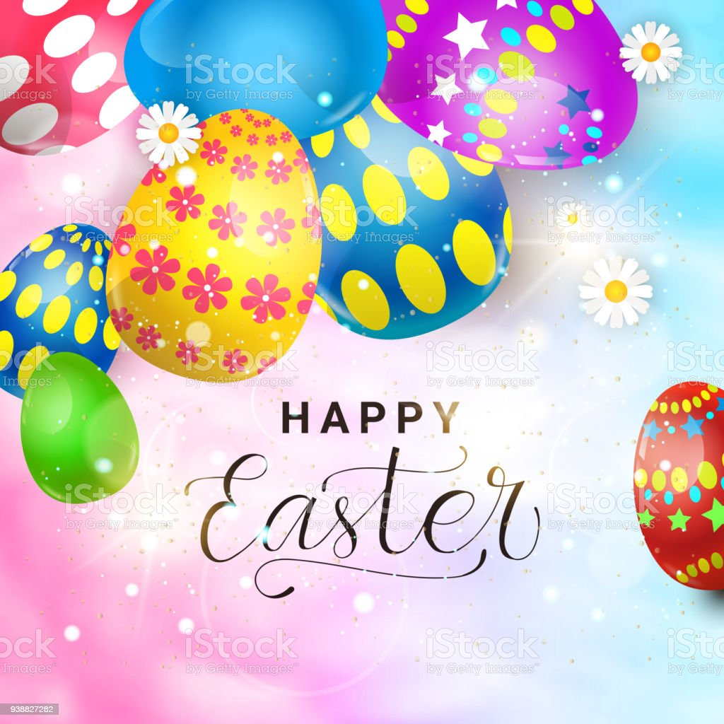 Beautiful happy easter greeting card poster decoration background beautiful happy easter greeting card poster decoration background with colorful eggs royalty free beautiful happy m4hsunfo