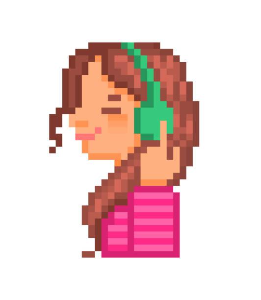 閉じた目で笑っている美しい幸せな女の子ヘッドフォンで音楽を聞いて、80年代-90s スタイルの古い学校8ビットピクセルアートの文字は、白の背景に分離しました。オンライン音楽ストリー� - ゲーム ヘッドフォン点のイラスト素材/クリップアート素材/マンガ素材/アイコン素材