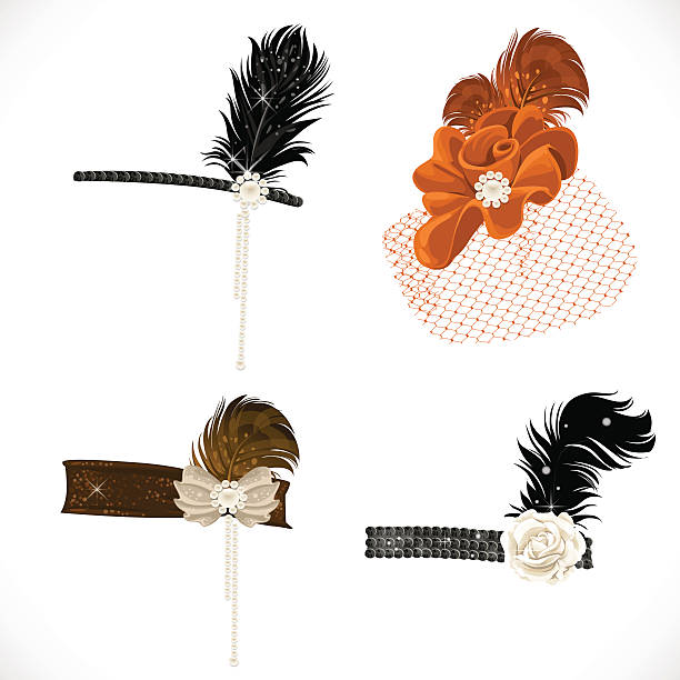 beautiful headbands and hat with feathers - 머리밴드 stock illustrations