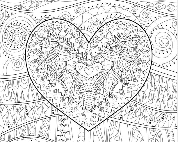 Beautiful heart for coloring book. Coloring pages for adult with beautifull patterned heart for Valentine's Day coloring book pages templates stock illustrations