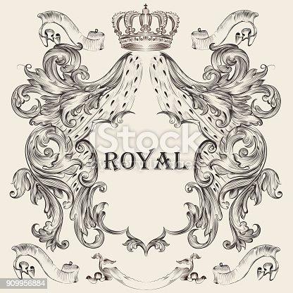 istock Beautiful heraldic design with shield, crown 909956884
