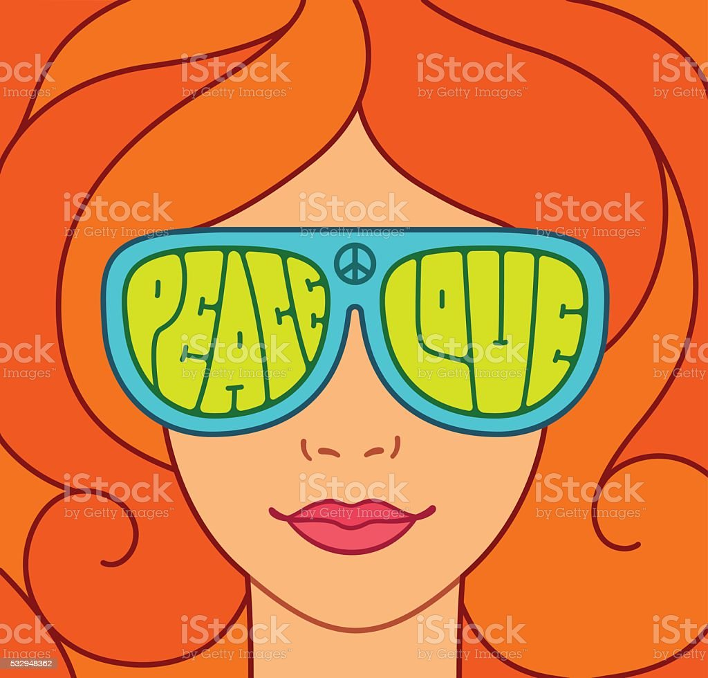 Beautiful hippie girl vector art illustration