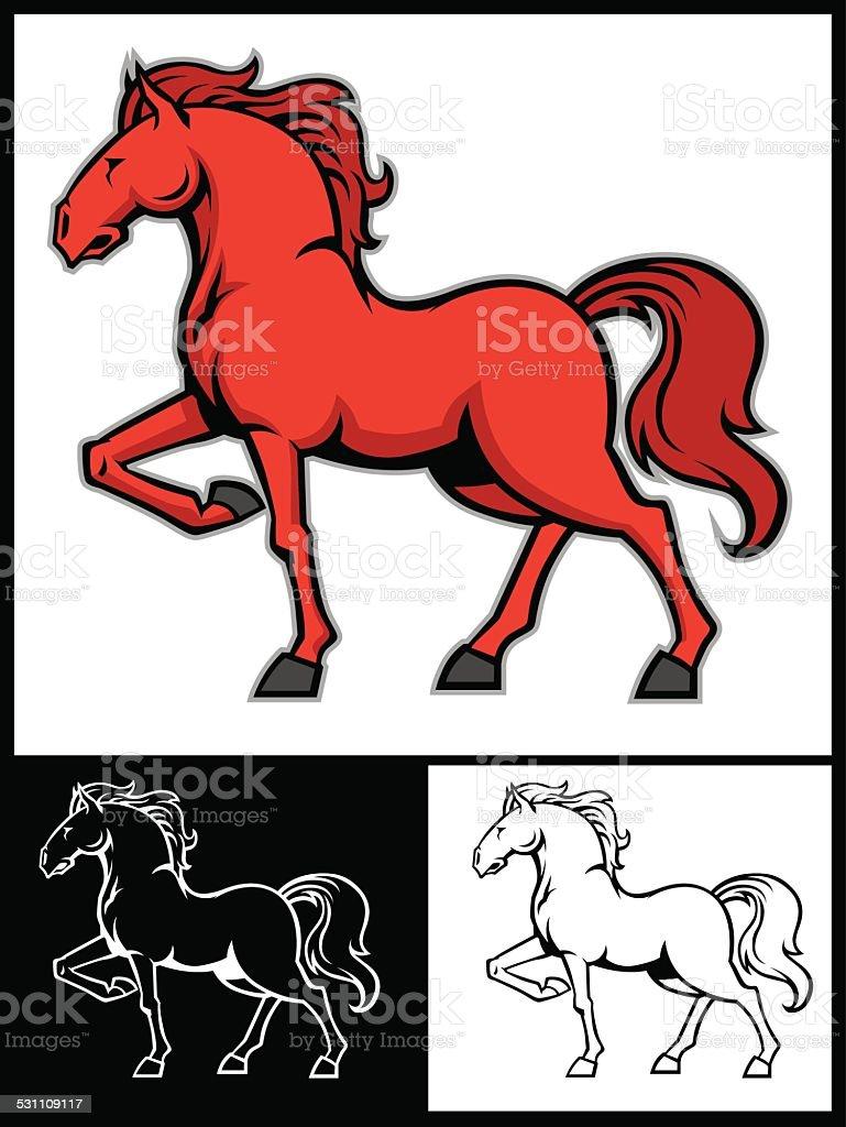 beautiful horse mascot vector art illustration