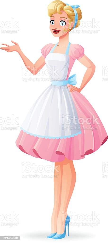Beautiful housewife in pink dress and apron presenting. Vector illustration. Lizenzfreies beautiful housewife in pink dress and apron presenting vector illustration stock vektor art und mehr bilder von 1940-1949