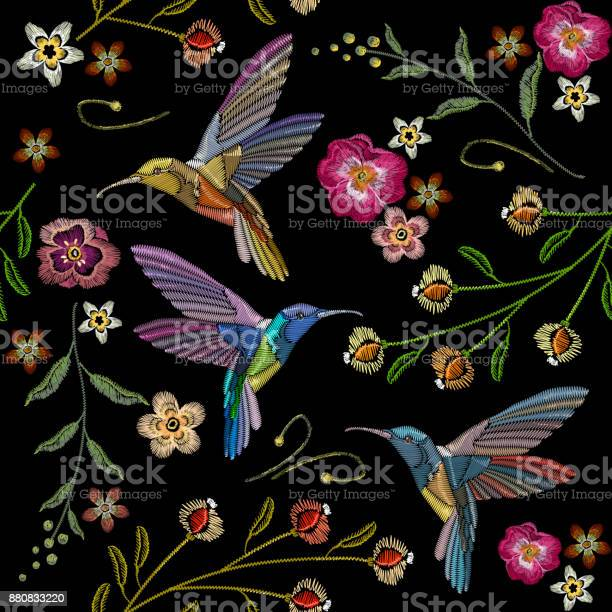 Beautiful hummingbirds and exotic flowers embroidery on black for vector id880833220?b=1&k=6&m=880833220&s=612x612&h=aigeaarstsmmmankvdkylqujv 62pqdms3wqwtmipzy=