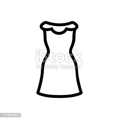 istock Beautiful icon vector dress. Isolated contour symbol illustration 1213623627