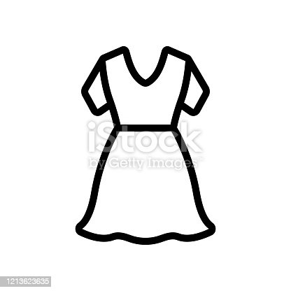 istock Beautiful icon vector dress. Isolated contour symbol illustration 1213623635
