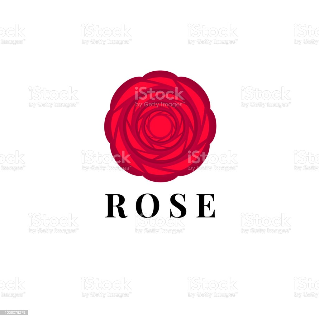 Beautiful Icon With A Red Rose For Flower Shop Or Beauty Salon Stock