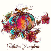 Beautiful illustration with colorful pumpkin in watercolor style