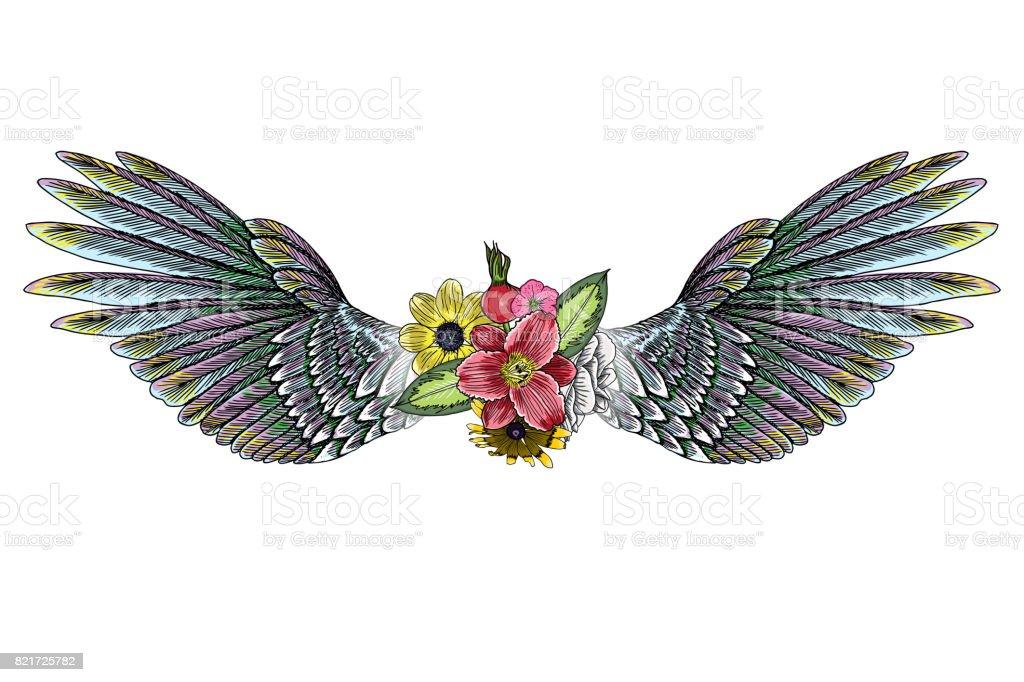 Schöne Illustration Mit Lily Rosen Und Kamillen Blumen Und Vögel ...