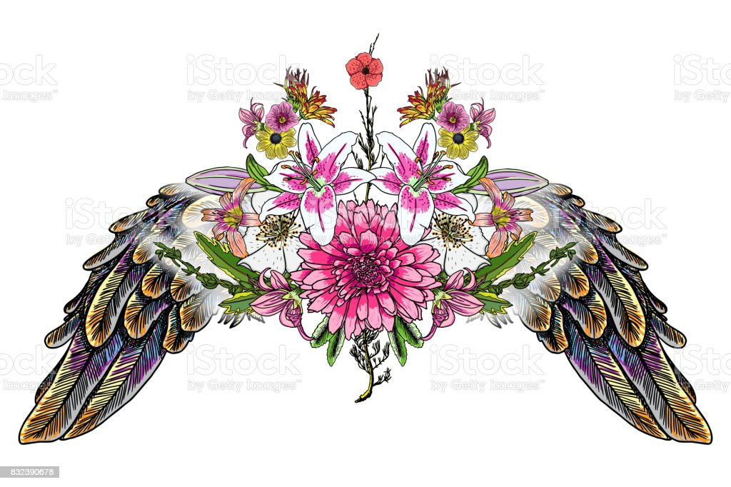 Beautiful Illustration With Lily Roses And Chamomiles Flowers And
