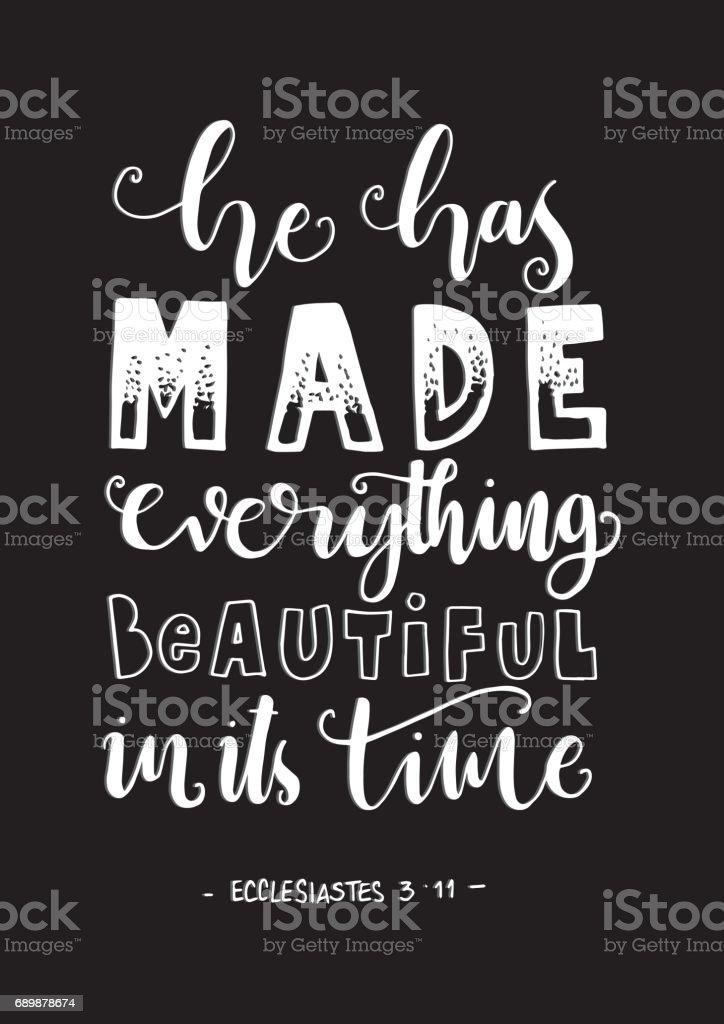 Beautiful in it's Time. Ecclesiastes vector art illustration