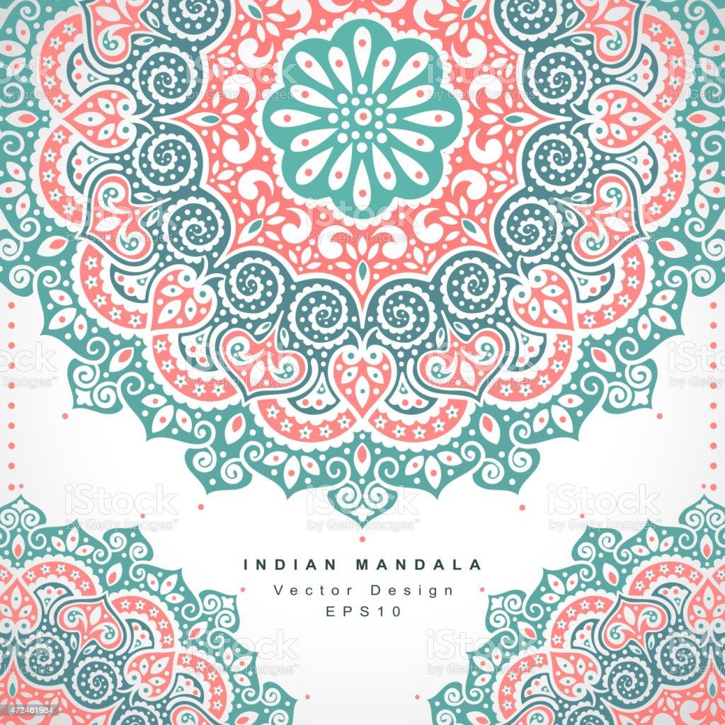 Ilustración de Hermosas Flores Adorno De La India Invitación De Boda ...
