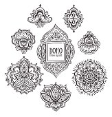 Beautiful Indian floral ornaments. Set of Ornamental Boho Style flowers and elements. Vector illustration.