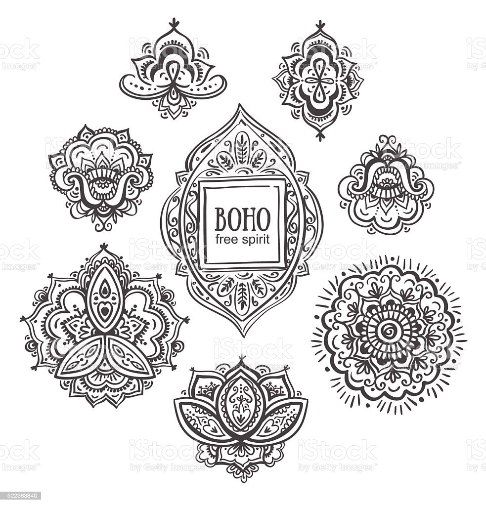 Beautiful Indian floral ornaments.  Vector illustration. vector art illustration