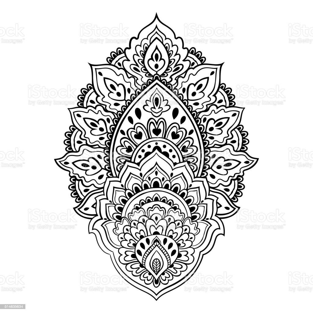 Beautiful Indian Floral Paisley Ornament Ethnic Lotus Henna Ta Stock