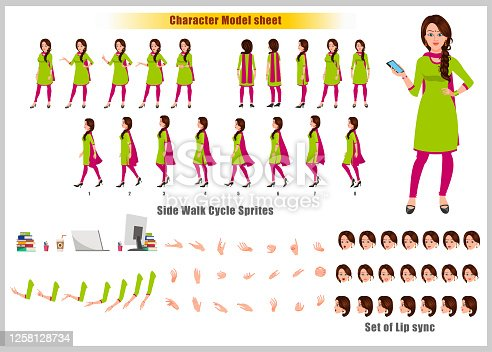 istock Beautiful Indian Girl Character Design Model Sheet with walk cycle animation. Girl Character design and turnaround vector 1258128734
