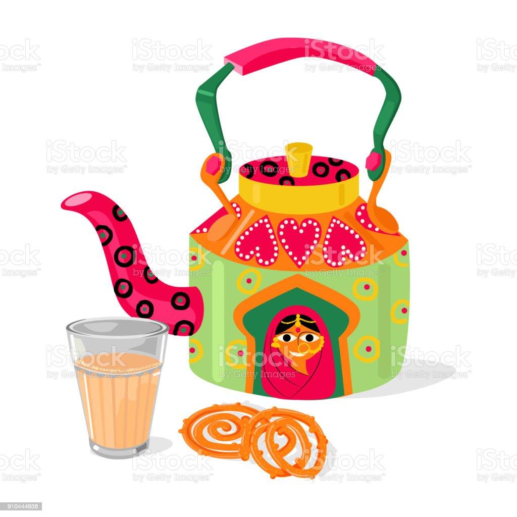 Belle bouilloire et masala chai thé indien. Jalebi sucreries traditionnelles. Illustration vectorielle - Illustration vectorielle
