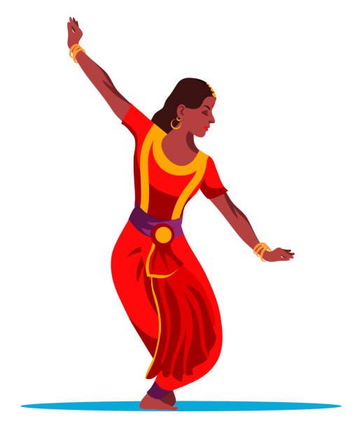 bildbanksillustrationer, clip art samt tecknat material och ikoner med vacker indisk kvinna dansare isolerad på vit - street dance