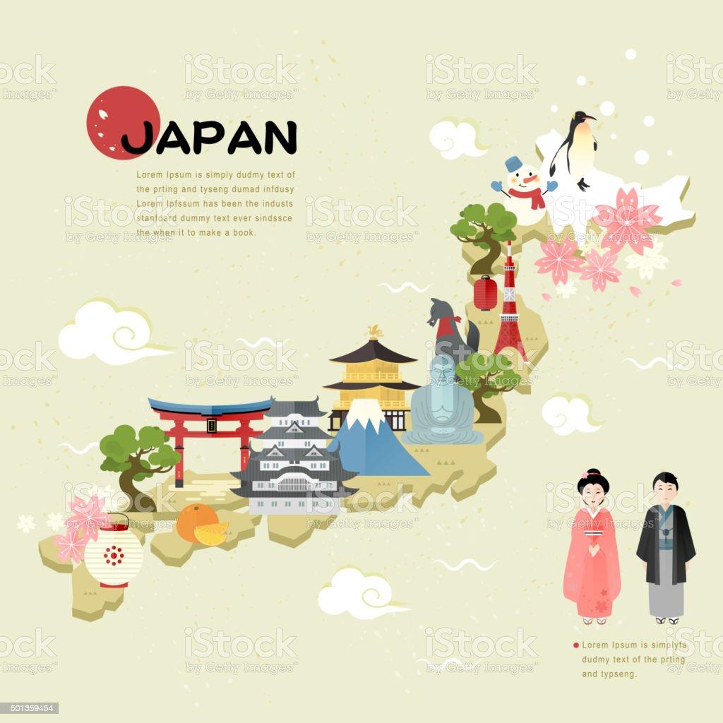 Beautiful Japan Travel Map Stock Vector Art IStock - Japan map cartoon