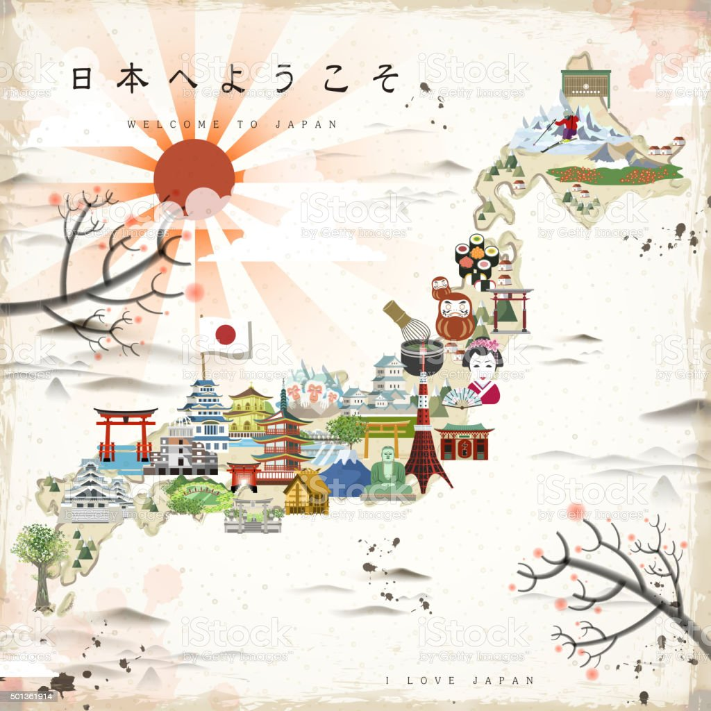 Beautiful Japan Travel Map Stock Vector Art IStock - Japan map vector art