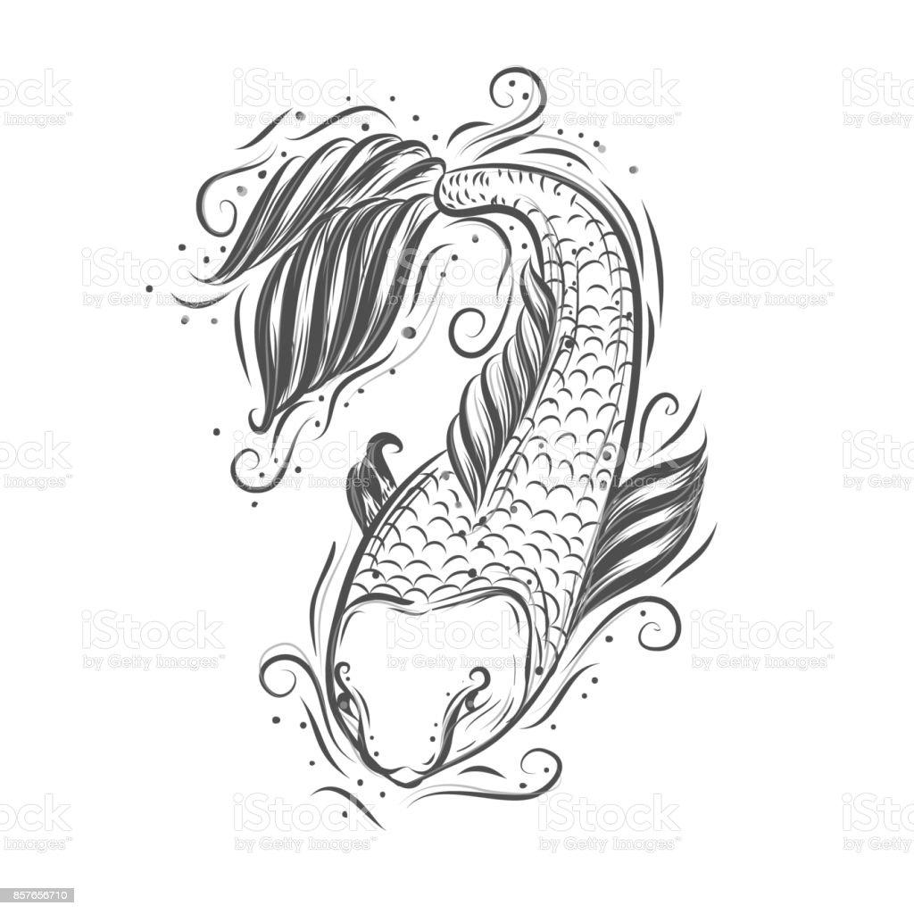 Ilustración de Koi Carpa Japonesa Hermosa Ilustración De Vector ...
