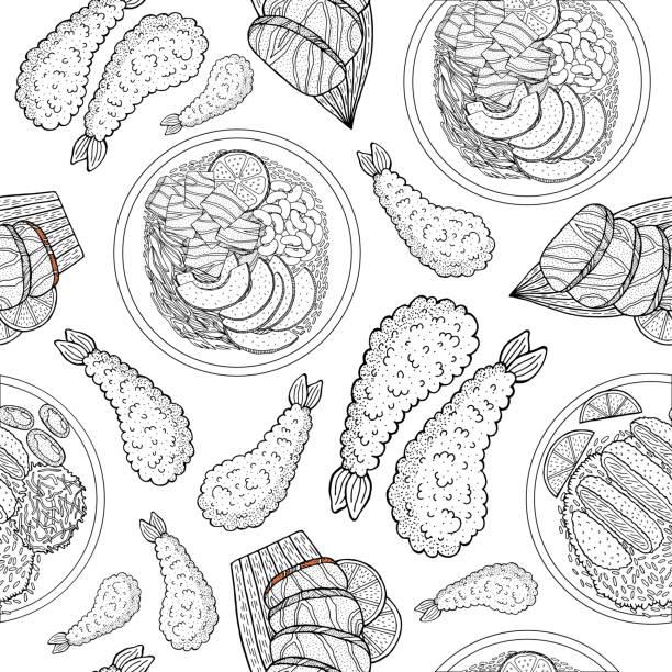 美しい日本食、あらゆる目的のための素晴らしいデザイン。落書き線描画ベクトルシームレスパターン。トレンディなメニューテクスチャ。スケッチ図面。日本とアジアの食べ物の背景。ビ� - ポキ点のイラスト素材/クリップアート素材/マンガ素材/アイコン素材
