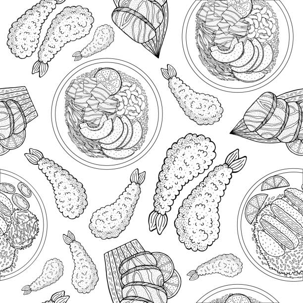 ilustrações de stock, clip art, desenhos animados e ícones de beautiful japanese food, great design for any purposes. doodle line drawing vector seamless pattern. trendy menu texture. sketch drawing. japanese and asian food background. business concept. - tempura